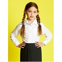 Camasa maneca lunga fata set 2 buc uniforma scoala
